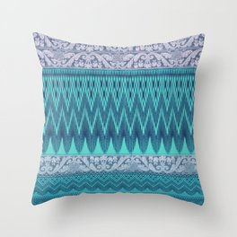 crochet mixed with lace in teal Throw Pillow