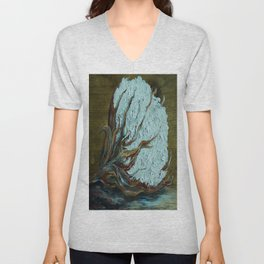 Cotton Boll on Wood Unisex V-Neck