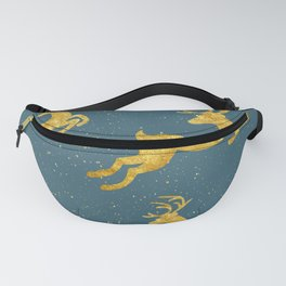 Golden Reindeer Teal Fanny Pack