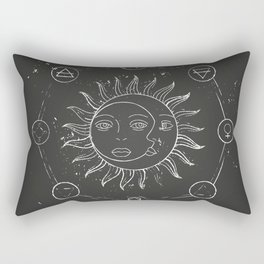 Moon, sun and elements Rectangular Pillow