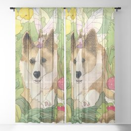 The Faerie and the Welsh Corgi Sheer Curtain