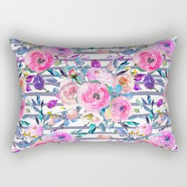 Pink mauve lilac hand painted watercolor roses floral stripes Rectangular Pillow