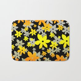 Graphic Sunflowers black background Bath Mat