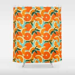 Orange Harvest - Blue Shower Curtain