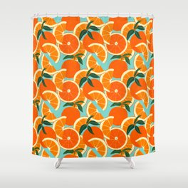 Orange Harvest - Blue Shower Curtain
