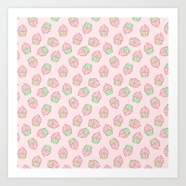 Cupcakes - Pink and Mint Doodle Pattern Art Print
