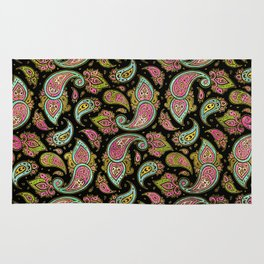Pink and Blue glitter Gold Paisley  on black Rug