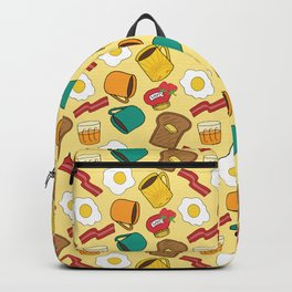 Doodle breakfast: toasts, jam, juice, coffee, bacon, eggs on a yellow background Backpack