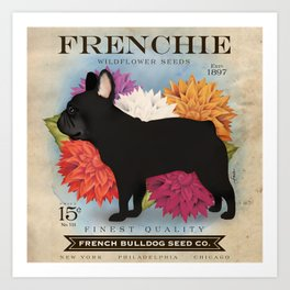 French Bulldog Frenchie Seed Packet Art vintage style  Art Print