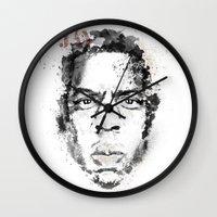 jay z Wall Clocks featuring Jay Z by I AM DIMITRI