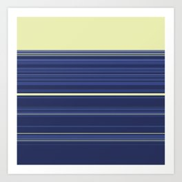 Light Yellow and Blue Stripes Art Print
