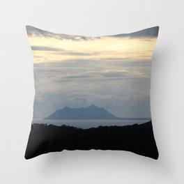 Mount Circeo at Nightfall Panorama Seascape Throw Pillow