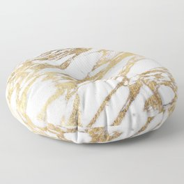 Chic Elegant White and Gold Marble Pattern Floor Pillow