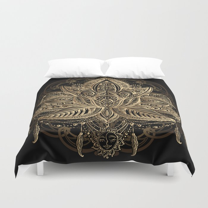 Lotus Black Gold Duvet Cover By Christineiris Society6
