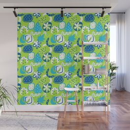 Brushstroke Abstracts - blue and green Wall Mural