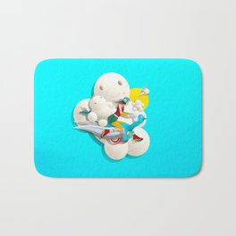 Time bunny girl and clouds Bath Mat