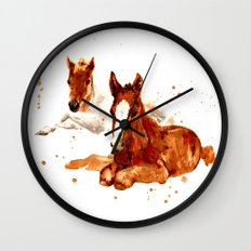HORSE art, horse paintings, foal painting, watercolor horses, watercolour horse Wall Clock