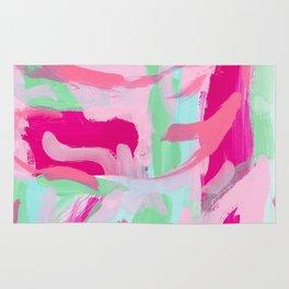 Kabuki Magic - mint green pink abstract modern Rug