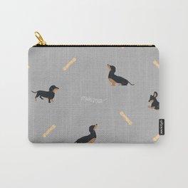 Grey Dachshund Print Carry-All Pouch