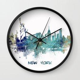 New York City Skyline blue Wall Clock