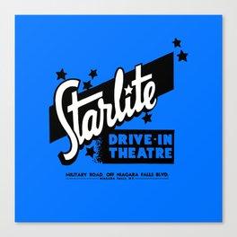 Starlite Drive-In Niagara Falls in Blue Canvas Print