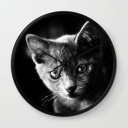 black and white kitten Wall Clock