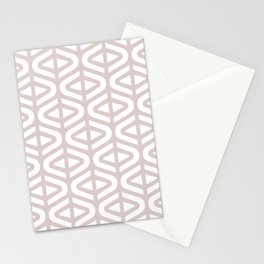 Mid Century Modern Split Triangle Pattern Light Beige 2 Stationery Cards