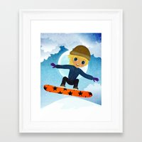 snowboarding Framed Art Prints featuring SNOWBOARDING by Cherimoya Art