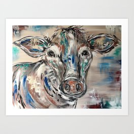 Rainbow Cow Art Print