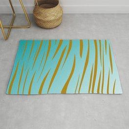 Design exotic vint. lines - gold, blue Rug