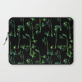 Modern lime green black chinese bamboo tree Laptop Sleeve