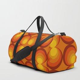 70s Circle Design - Orange Background Duffle Bag