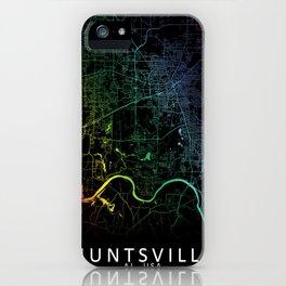 Huntsville, AL, USA, City, Map, Rainbow, Map, Art, Print iPhone Case