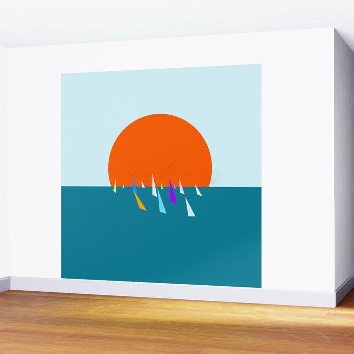 Minimal regatta in the sun Wall Mural