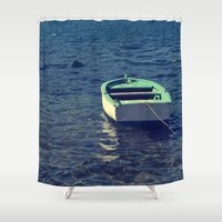 boat Shower Curtains featuring boat by gzm_guvenc