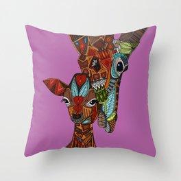 giraffe love orchid Throw Pillow