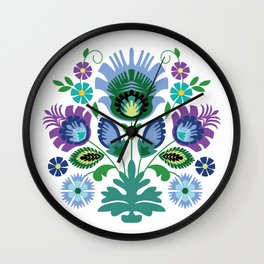 Polish Folk Flowers Blue Wall Clock