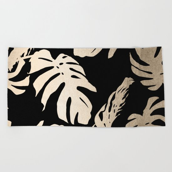 Simply Palm Leaves in White Gold Sands on Midnight Black Beach Towel