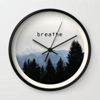 breathe Wall Clocks featuring breathe by Badamg