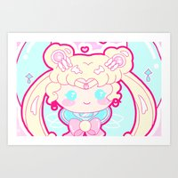 sailormoon Art Prints featuring Marshmallow Sailormoon by Candy Castle