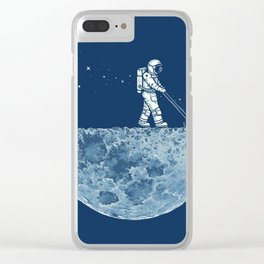 cleaning the moon Clear iPhone Case