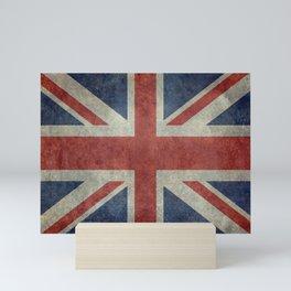 UK Flag in Dark grunge Mini Art Print