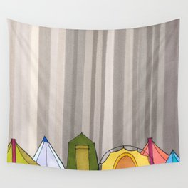 Stripes and Colorful Camping Tents 98 Wall Tapestry