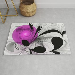Abstract Black and White with Pink Rug