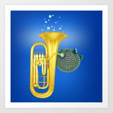 Puffer Fish Playing Tuba Art Print