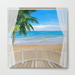 Balcony with a Beach Ocean View Metal Print