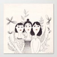 sisters Canvas Prints featuring Sisters by Charline Denys