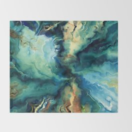 Marbled Ocean Abstract, Navy, Blue, Teal, Green Throw Blanket