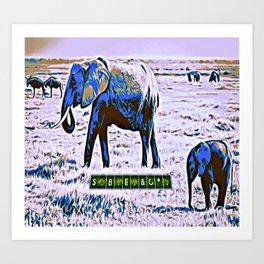 Blue Rami and Baby Branden Elephants Art Print