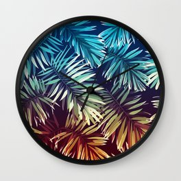 Gradient Tropical palm leaves Wall Clock